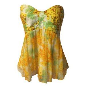 Diane Von Furstenberg yellow silk boho 70s Top